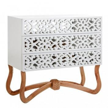 Cómoda 110x101cm estilo oriental madera y espejo
