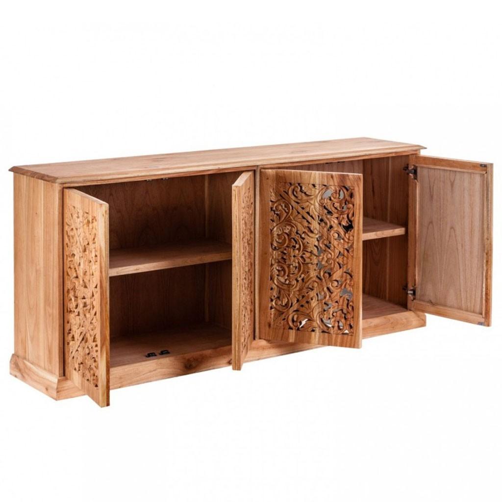 buffet 180cm estilo tnico en madera tallada y espejo erizho. Black Bedroom Furniture Sets. Home Design Ideas