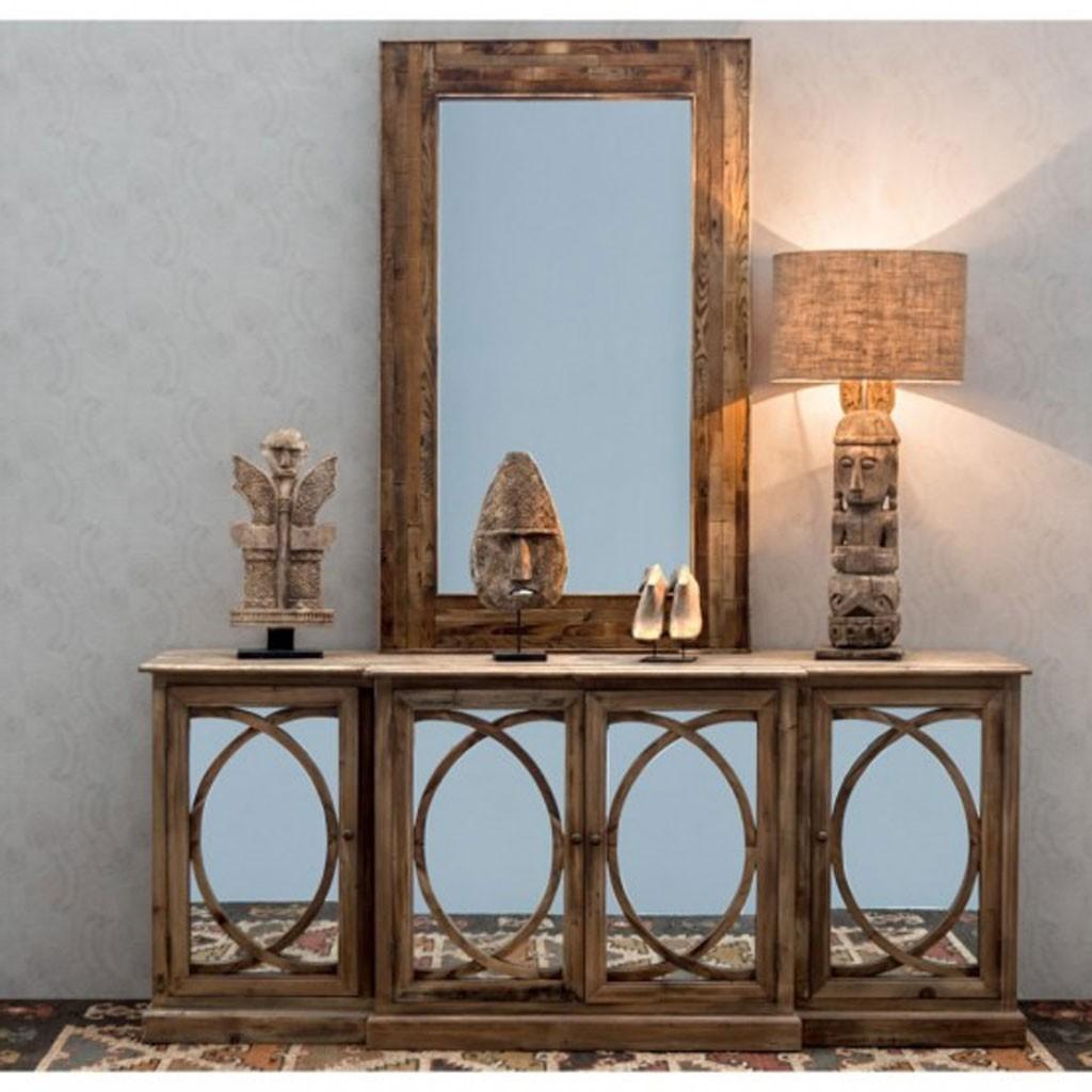 Buffet 205cm con espejo de estilo r stico pino erizho - Aparadores con espejo ...