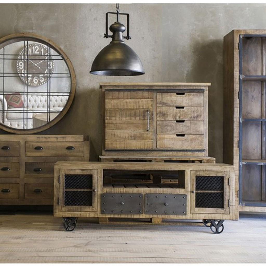 aparador 120cm estilo industrial madera mango erizho On buffet de estilo industrial barato