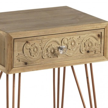 Mesilla estilo tnico 40cm madera de abeto y metal erizho for Mesillas madera natural