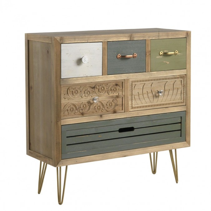 Cómoda estilo vintage 76cm madera de abeto y metal