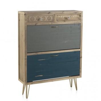 Zapatero estilo vintage 81x108cm madera de abeto y metal