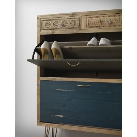 Zapatero estilo vintage 81x108cm madera de abeto y metal - Madera de abeto ...