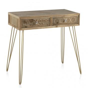 Consola estilo vintage 80cm madera de abeto y metal