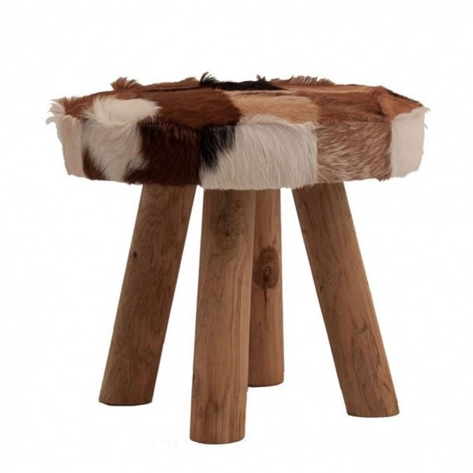 Taburete 52x46 madera, piel natural
