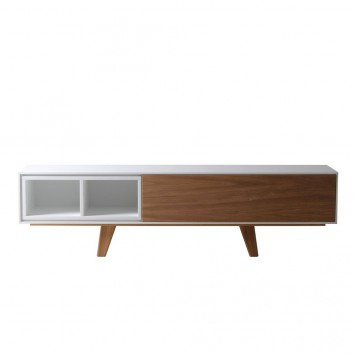 Mueble TV con cajón 150cm chapa de roble