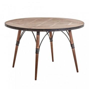 Mesa comedor redonda 120x120cm hierro y madera