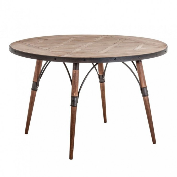 Mesa comedor redonda 120x120cm hierro y madera erizho for Mesa hierro y madera