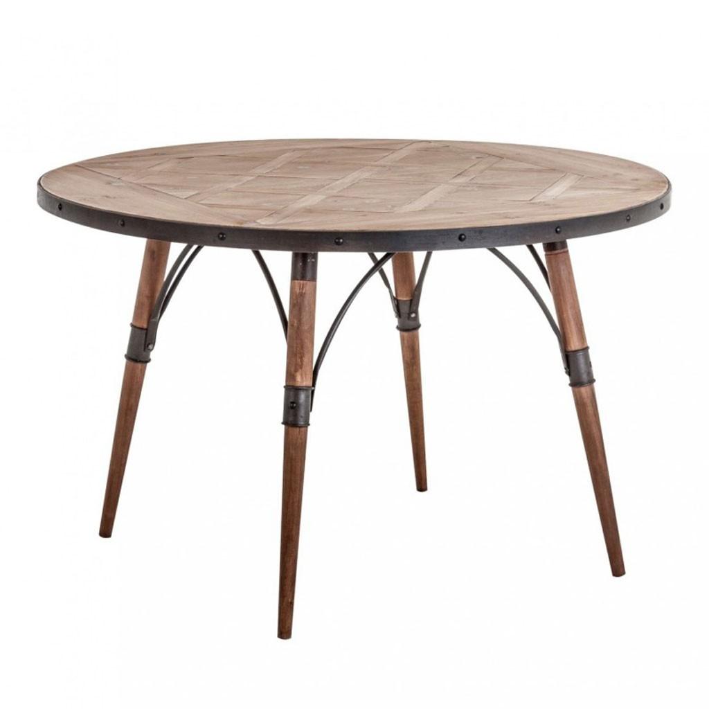 Mesa comedor redonda 120x120cm hierro y madera erizho for Mesa comedor blanca y madera