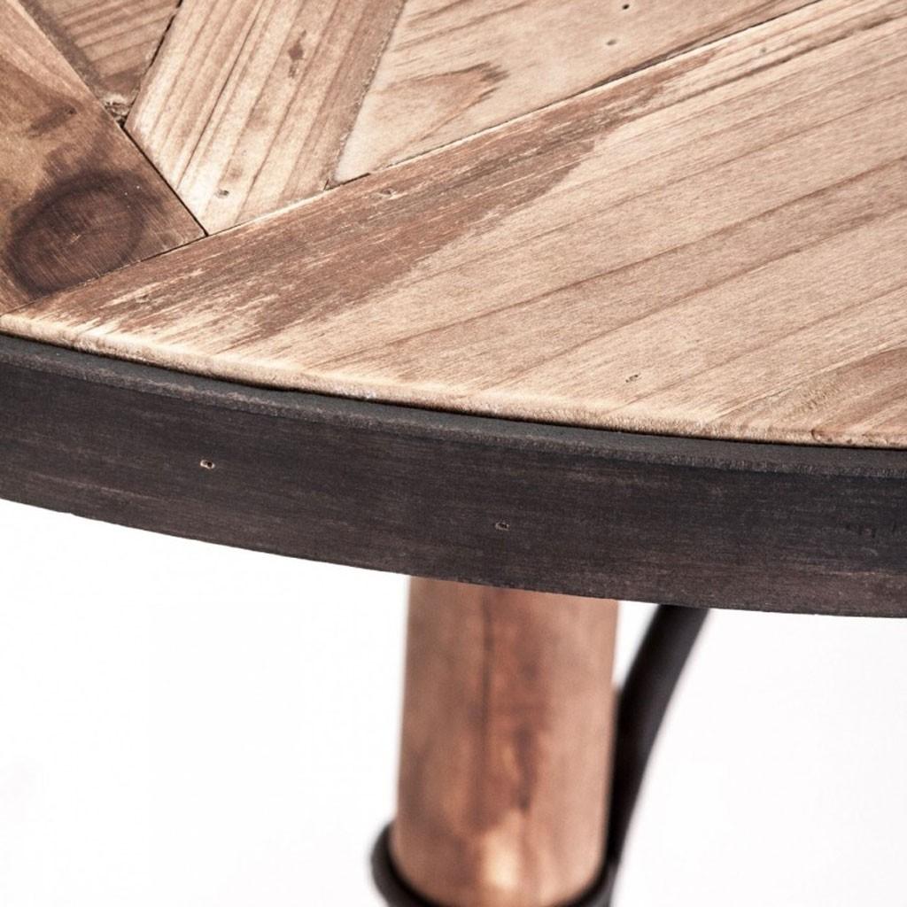Mesa comedor redonda 120x120cm hierro y madera erizho for Mesas de hierro forjado y madera