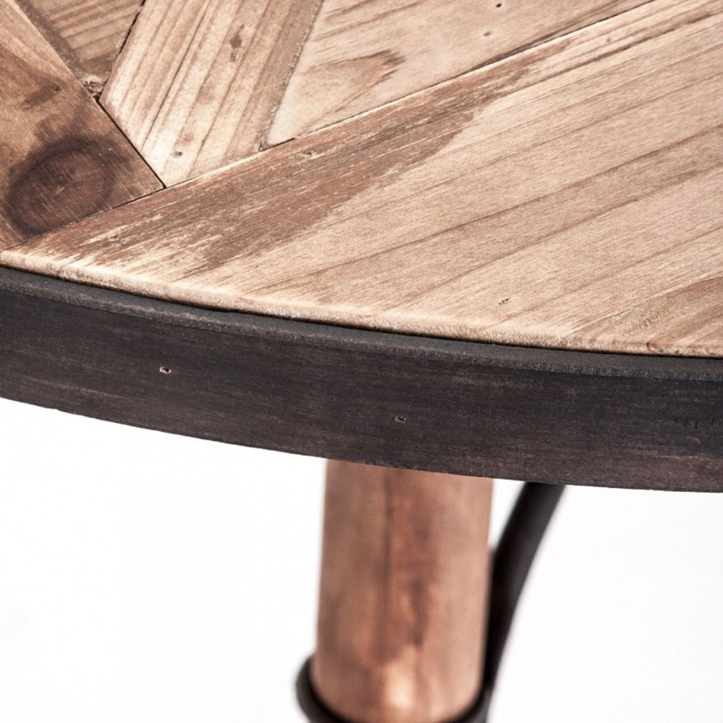 Mesa comedor redonda 120x120cm hierro y madera erizho - Mesas de madera hechas a mano ...
