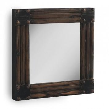Espejo de pared vintage 57x57cm pino