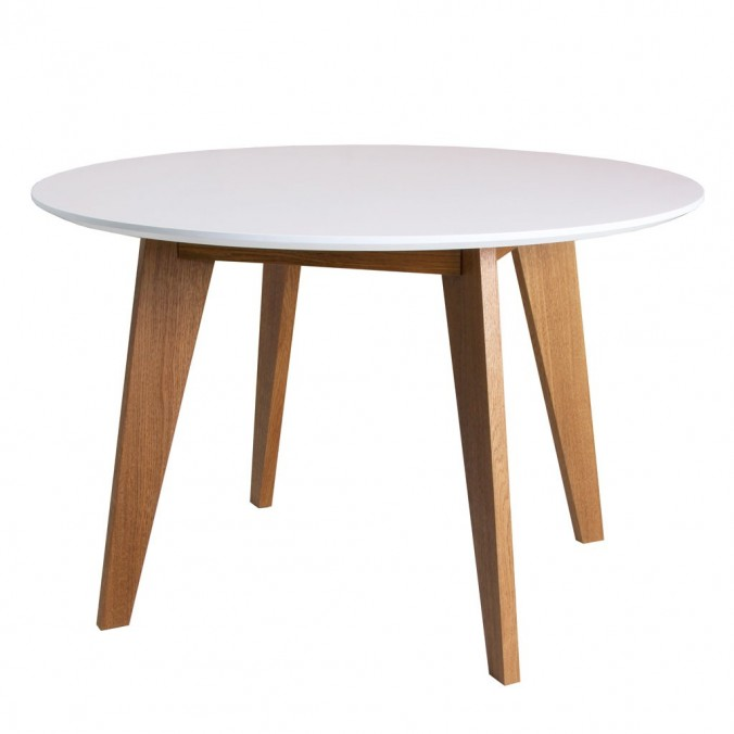 Mesa redonda estilo n rdico de chapa roble 3 tama os erizho - Mesas de madera redondas extensibles ...
