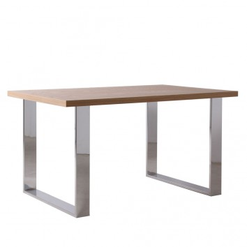 Mesa comedor chapa de roble natural y acero - 5 tamaños