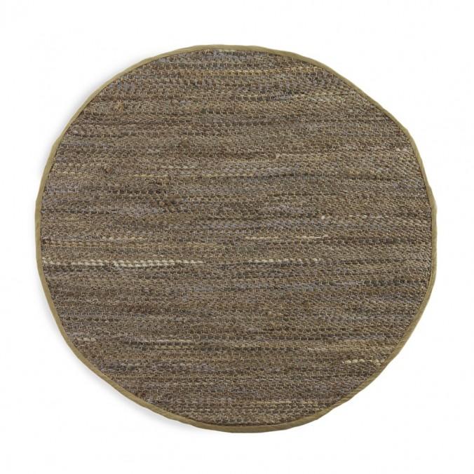 Alfombra jaspeada redonda 120cm yute y algodón
