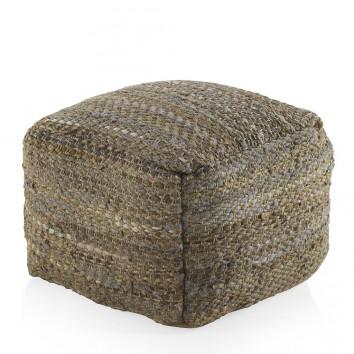 puff jaspeado cuadrado 45x35cm yute y algodón