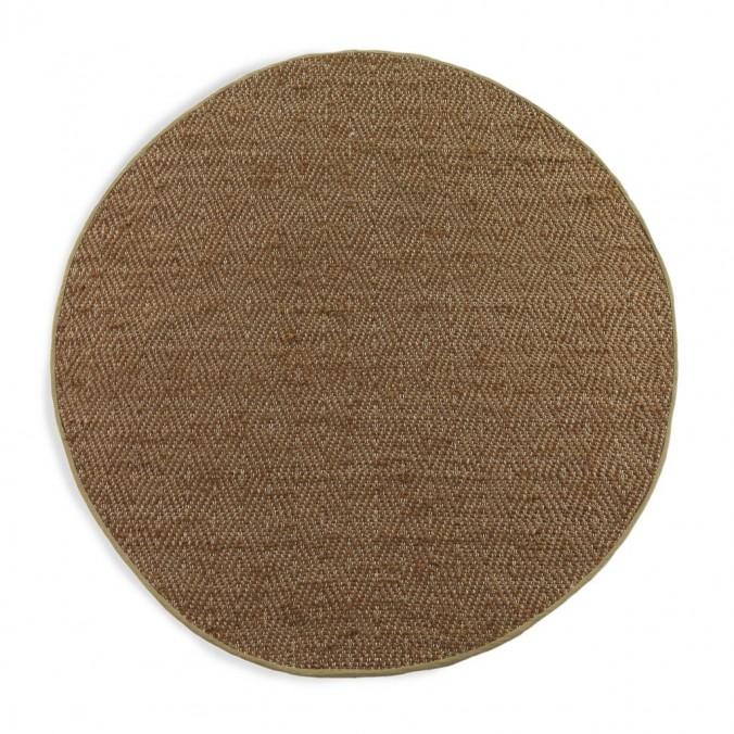 Alfombra diseño rombo redonda 120cm yute y algodón