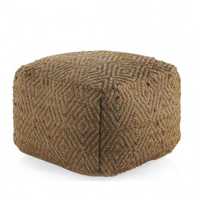 puff diseño rombo cuadrado 45x35cm yute y algodón