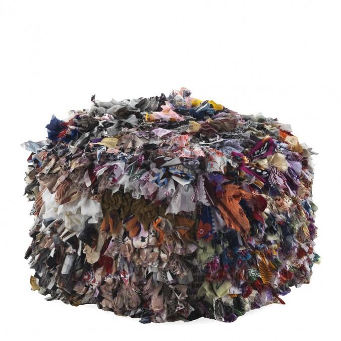Puff cuadrado trapillo multicolor 45x35cm yute y algodón