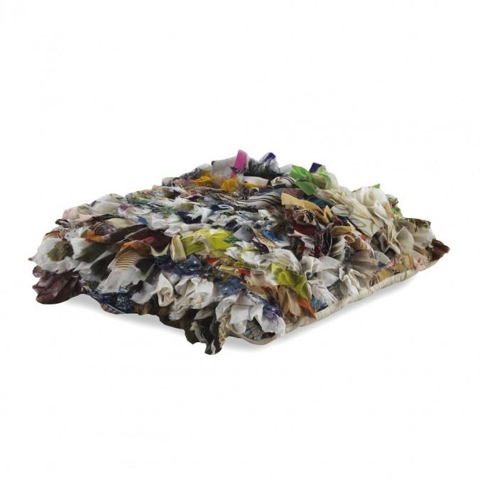 Cojín trapillo multicolor cuadrado 45x45cm yute y algodón