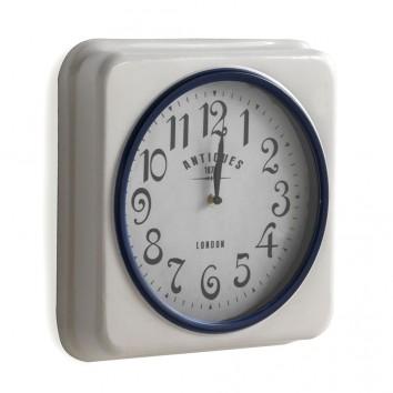 Reloj de pared vintage cuadrado 35x35cm blanco