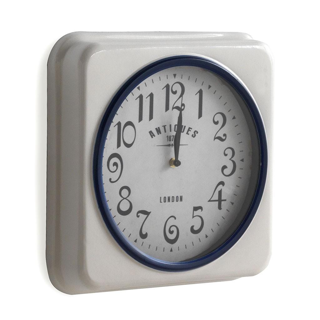 10cc2c9a9045 Reloj de pared vintage cuadrado 35x35cm blanco