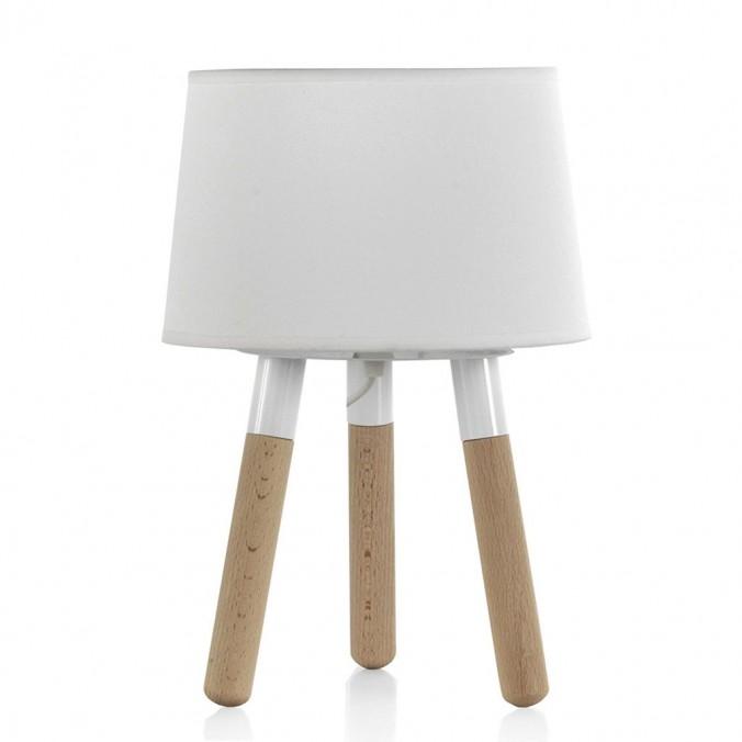 Lámpara de mesa trípode con pantalla 22x32cm blanca