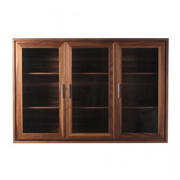 Vitrina 180cm diseño contemporaneo en madera de nogal