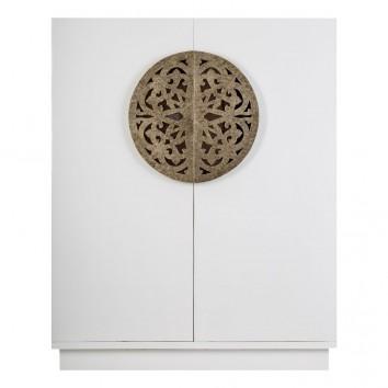 Armario estilo oriental blanco/oro 120x150cm madera de mindi