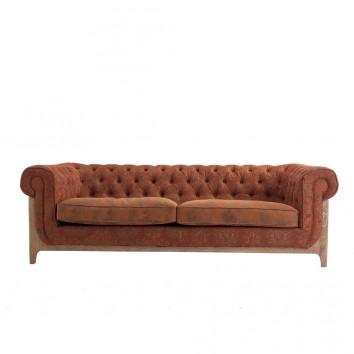 Sofá vintage 3 plazas 227cm tapizado en tela y piel
