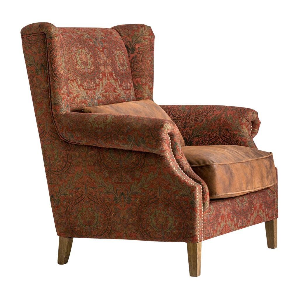 Sill n vintage 1 plaza 108cm tapizado en tela y piel erizho for Sillon una plaza barato