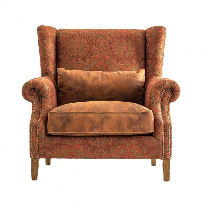 Sill n vintage 1 plaza 108cm tapizado en tela y piel erizho - Sillon de una plaza ...
