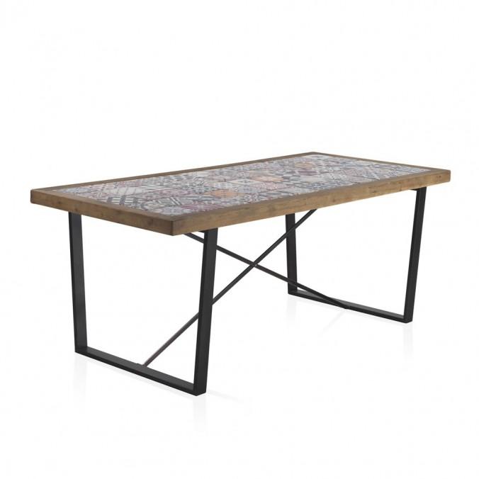 Mesa comedor 195x90cm cerámica vintage