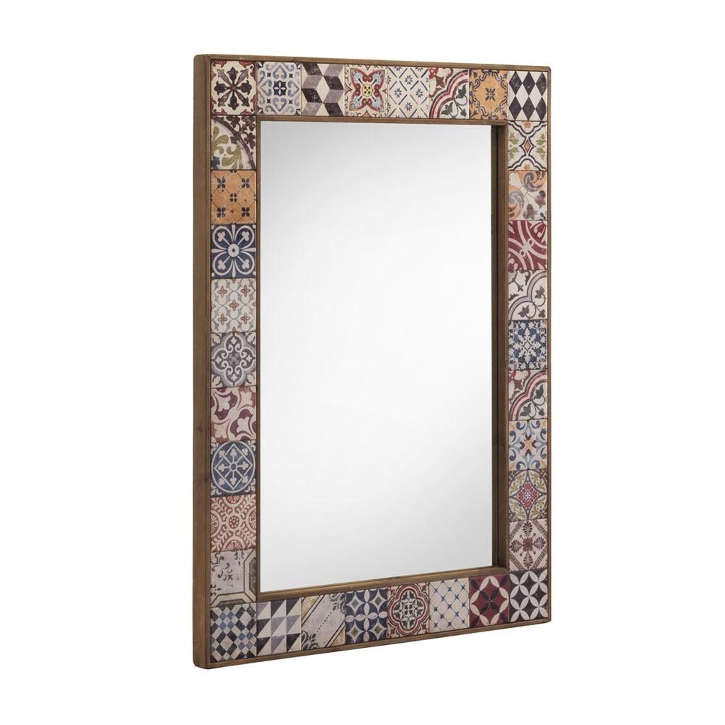 Espejo vintage marco con cer mica 83x113cm erizho for Espejos grandes con marco