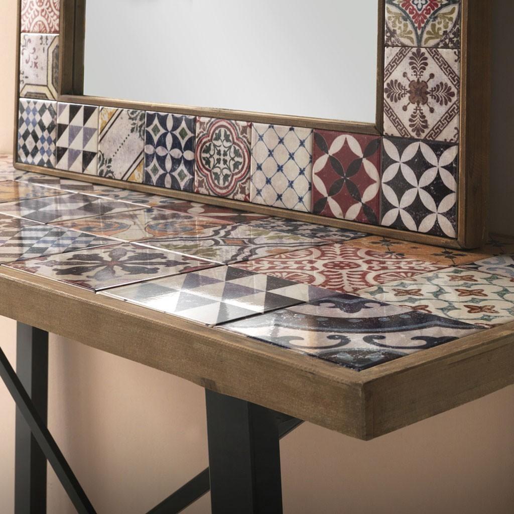 Espejo vintage marco con cerámica 83x113cm - Erizho