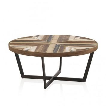 Mesa de centro redonda 80x35 estilo vintage industrial