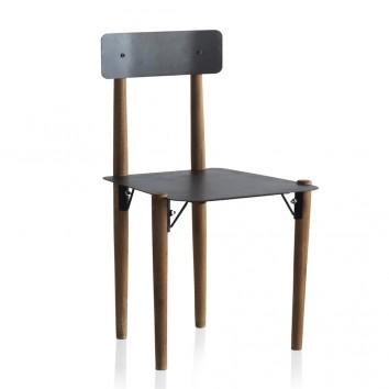 Silla estilo industrial 49x47x82h metal y madera