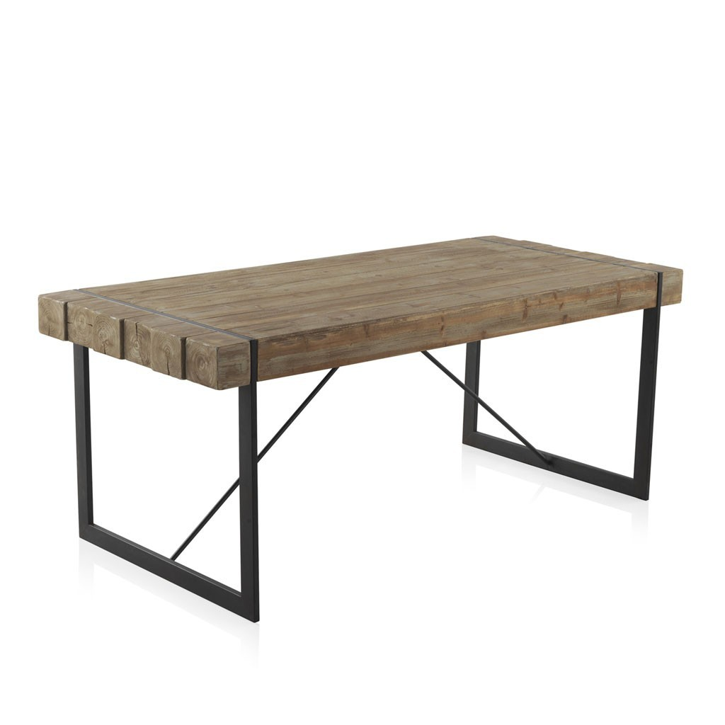 mesa de comedor estilo industrial 200x90x80h en metal erizho