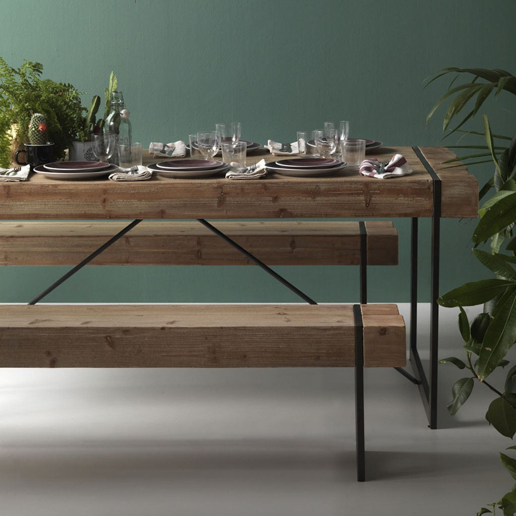Mesa de comedor estilo industrial 200x90x80h en metal - Erizho
