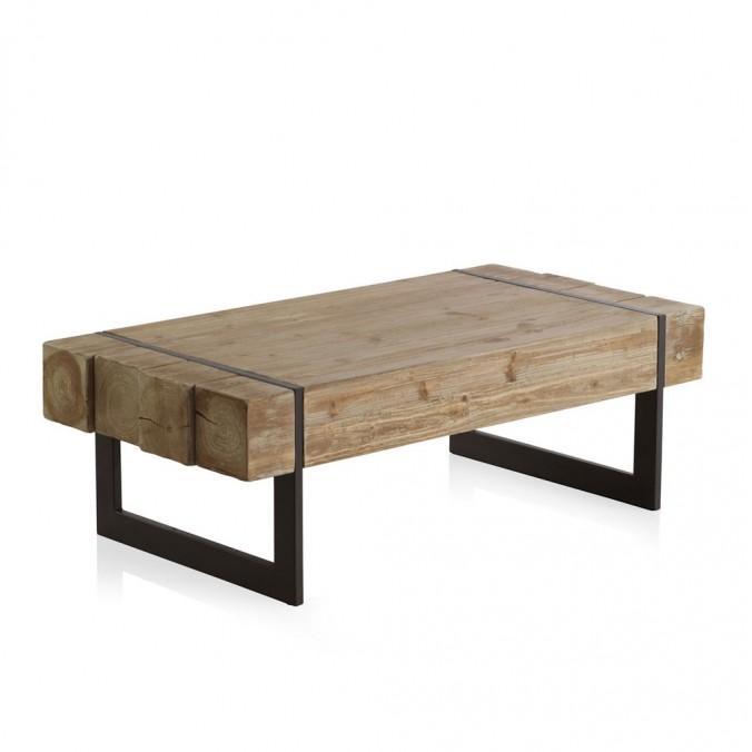 Mesa de centro estilo industrial 120x60x40h en madera de for Mesa de centro de metal industrial