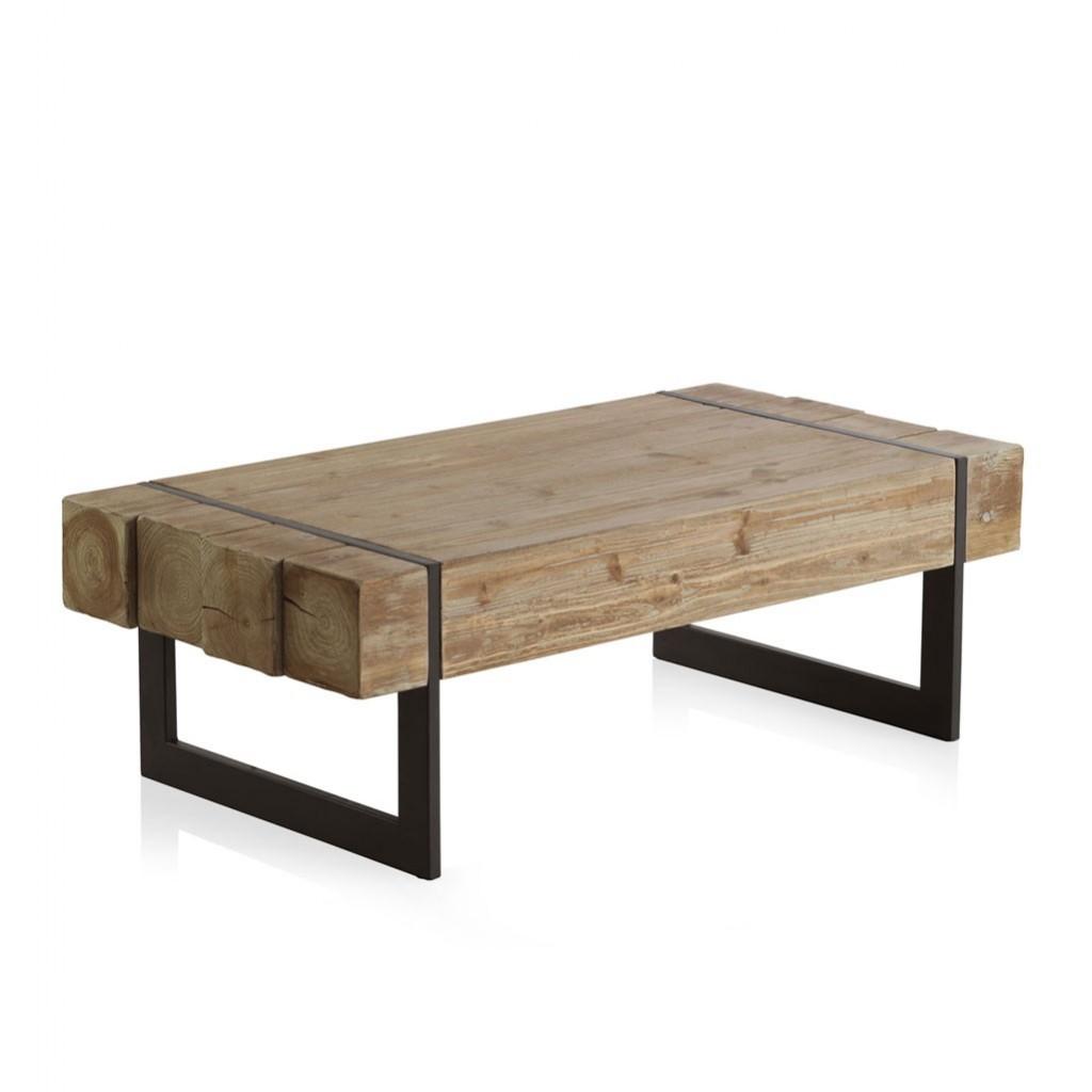mesa de centro estilo industrial 120x60x40h en madera de
