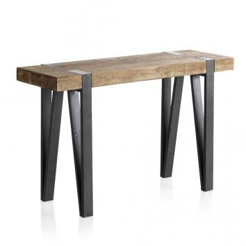 Consola estilo industrial 120x40x76h en madera de abeto