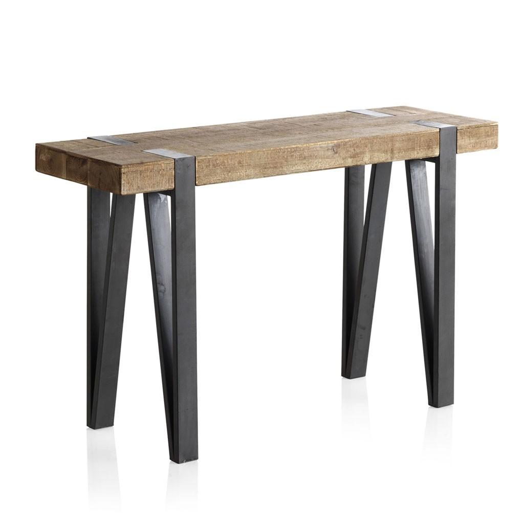 Consola estilo industrial 120x40x76h en madera de abeto - Madera de abeto ...
