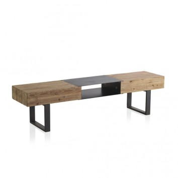 Mesa de centro estilo industrial 180x40x45h en madera de abeto