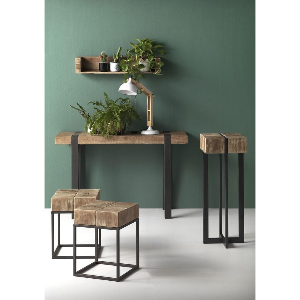 Mesita alta estilo industrial 32x32x85h en madera de abeto for Mesas de centro y auxiliares