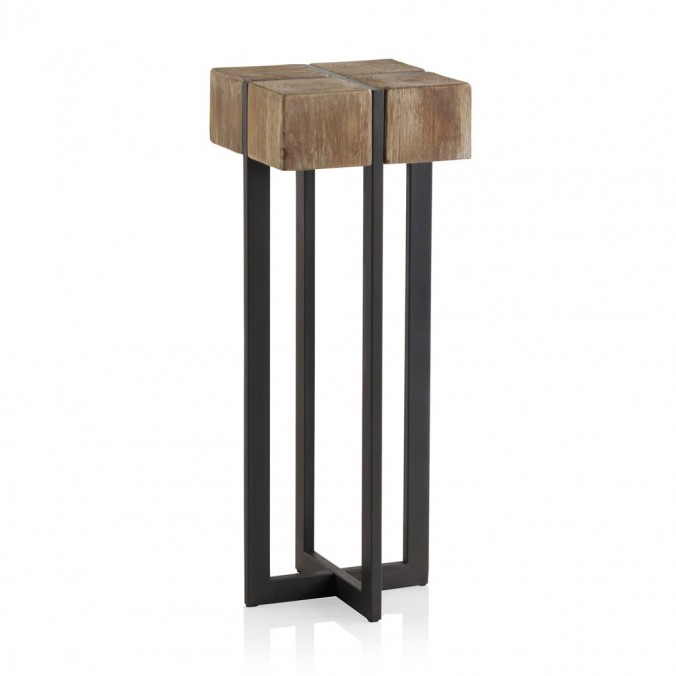 Mesita alta estilo industrial 32x32x85h en madera de abeto for Mesa auxiliar industrial