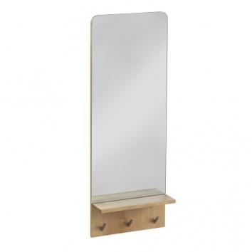 Espejo 35x95cm con perchas y repisa en abedul