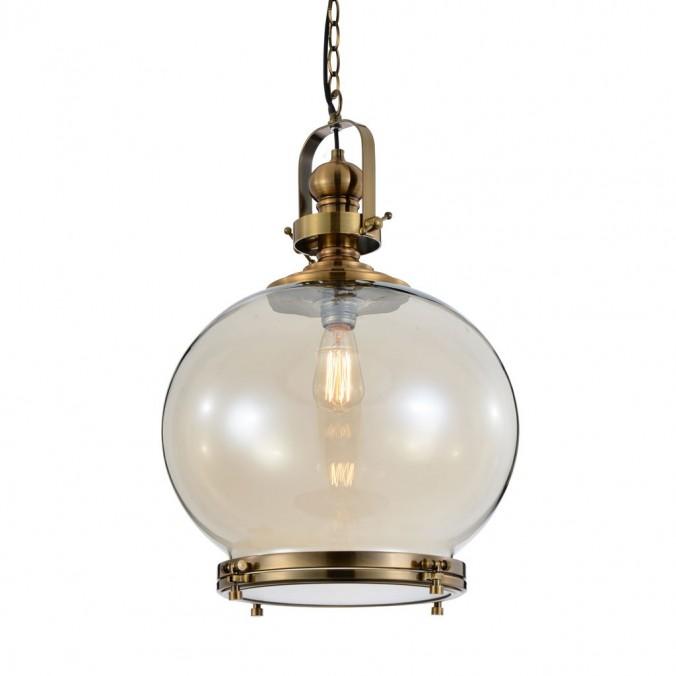Lámpara esfera Vintage 40cm metal cuero