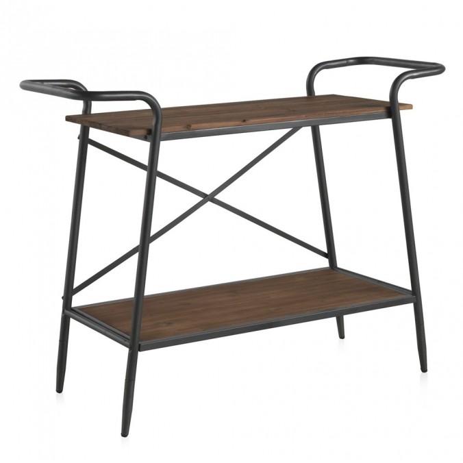 Consola vintage industrial 118x45cm hierro y madera